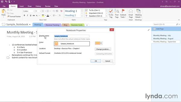 Changing notebook properties and closing: Office 365: OneNote Essential Training