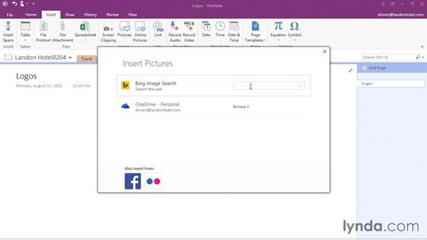 Adding pictures: Office 365: OneNote Essential Training