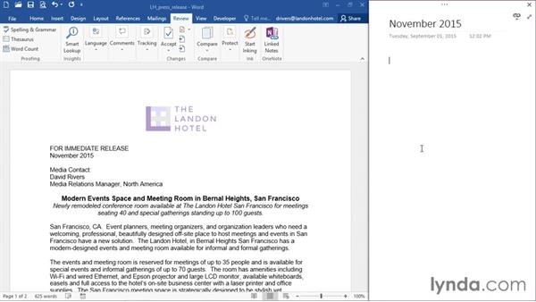 Docking windows and linking notes: Office 365: OneNote Essential Training