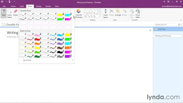 Working in Pen mode: Office 365: OneNote Essential Training