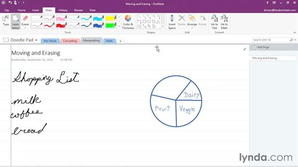 Manipulating written notes and drawings: Office 365: OneNote Essential Training