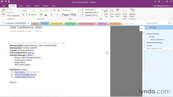 Inserting Outlook meetings: Office 365: OneNote Essential Training