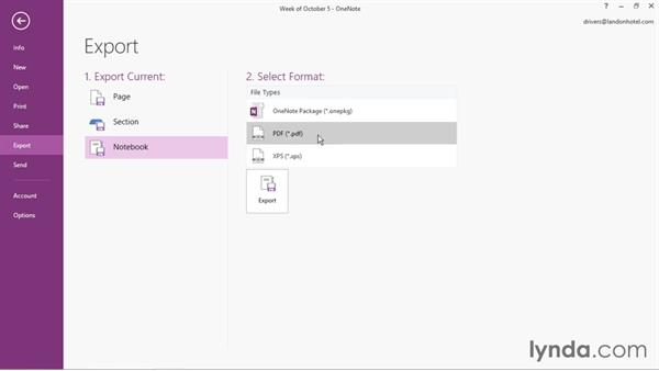 Saving to other formats: Office 365: OneNote Essential Training