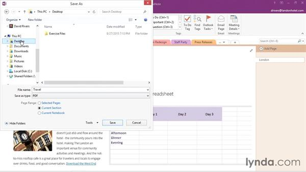 Exporting OneNote content to PDF or XPS: Office 365: OneNote Essential Training