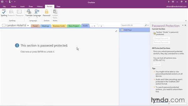 Password protection: Office 365: OneNote Essential Training