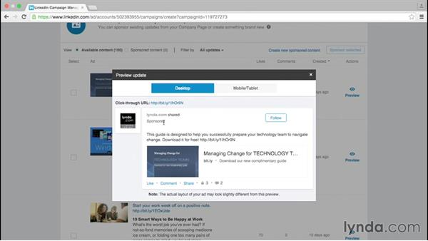 Create a new Sponsored Update campaign: Up and Running with LinkedIn Sponsored Content