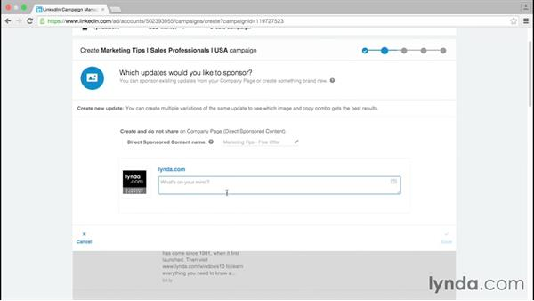Create new Direct Sponsored Content: Up and Running with LinkedIn Sponsored Content