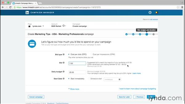 Set a budget and schedule for your campaign: Up and Running with LinkedIn Sponsored Content