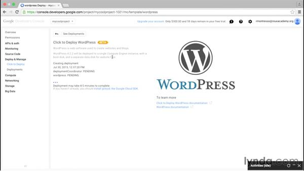 Using the click-to-deploy interface to set up a WordPress server: Google Cloud Platform Essential Training