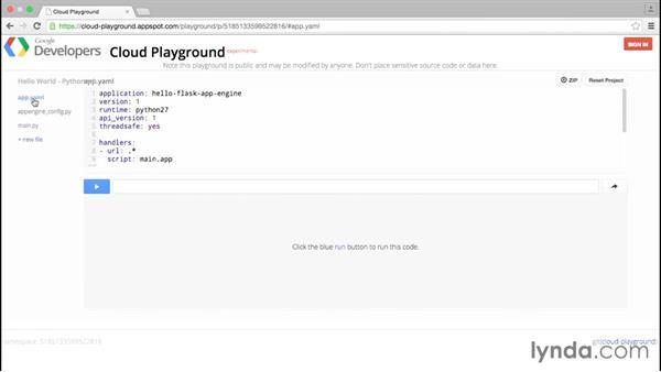 Using Cloud Playground: Working with Python: Google Cloud Platform Essential Training