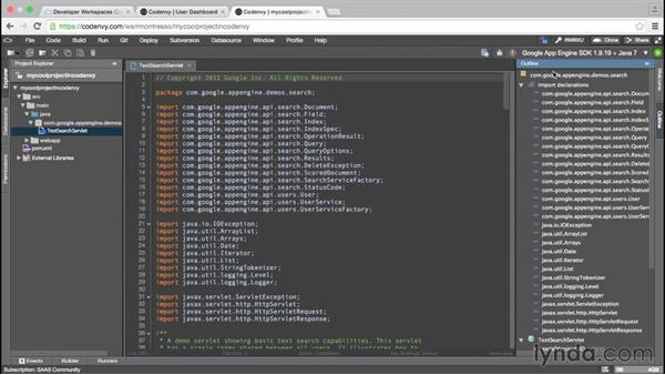 Using the Codenvy IDE with Java: Google Cloud Platform Essential Training