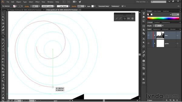 Using the Spiral tool: Illustrator CC 2015 One-on-One: Fundamentals