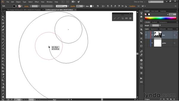 Adding a circular end to a spiral: Illustrator CC 2015 One-on-One: Fundamentals