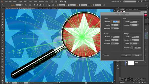Using the crazy Flare tool: Illustrator CC 2015 One-on-One: Fundamentals