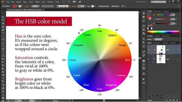 Hue, Saturation, and Brightness: Illustrator CC 2015 One-on-One: Fundamentals