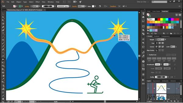 Variable-width strokes: Illustrator CC 2015 One-on-One: Fundamentals