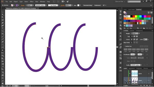 Custom aligning strokes to paths: Illustrator CC 2015 One-on-One: Fundamentals
