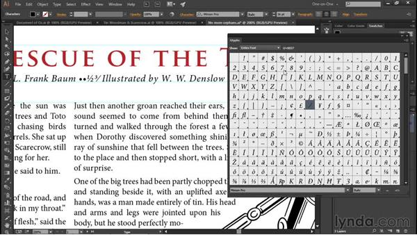 Finding a character with the Glyphs panel: Illustrator CC 2015 One-on-One: Fundamentals