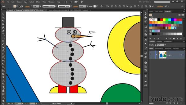 Using the Shape Builder tool: Illustrator CC 2015 One-on-One: Fundamentals