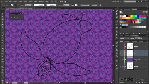 Coloring your Pencil tool art: Illustrator CC 2015 One-on-One: Fundamentals