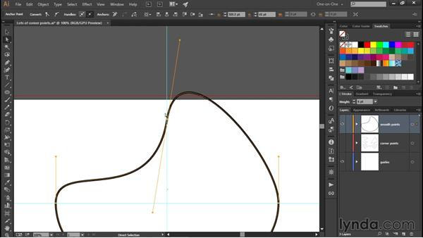 How smooth points work: Illustrator CC 2015 One-on-One: Fundamentals
