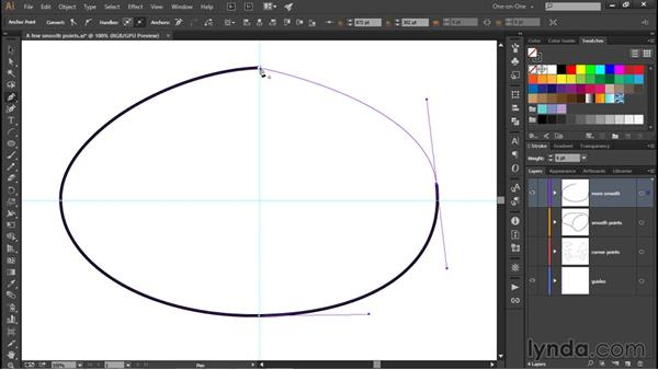 Drawing smooth points: Illustrator CC 2015 One-on-One: Fundamentals