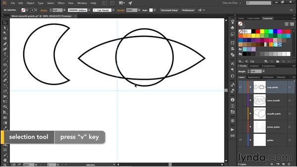 Creating cusp points: Illustrator CC 2015 One-on-One: Fundamentals
