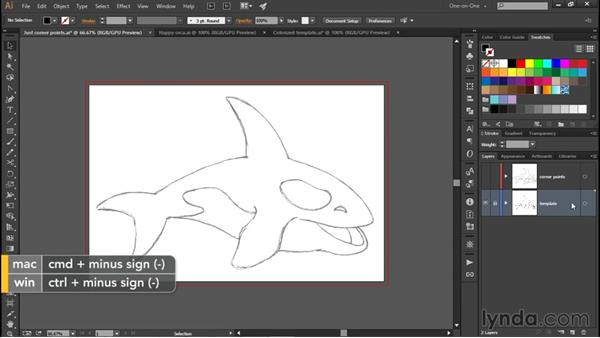 Colorizing a line art template: Illustrator CC 2015 One-on-One: Fundamentals