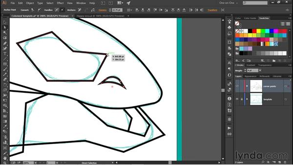 Turning corners into organic curves: Illustrator CC 2015 One-on-One: Fundamentals