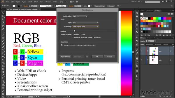 Saving vector-based SVG files: Illustrator CC 2015 One-on-One: Fundamentals