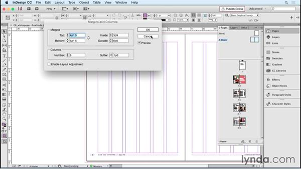 Adding margin and column guides: Designing Templates with InDesign