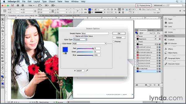 Adding and organizing color swatches: Designing Templates with InDesign