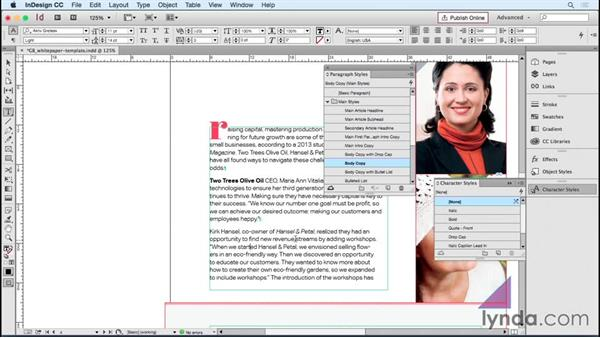 Making smart paragraph and character styles: Designing Templates with InDesign