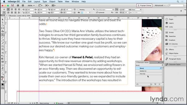 Creating paragraph and character styles where none exist: Designing Templates with InDesign