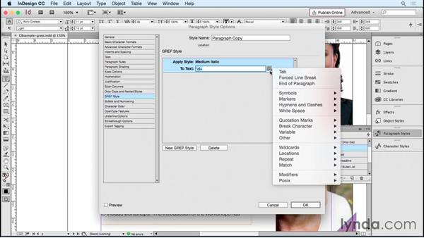 Including GREP styles to speed formatting: Designing Templates with InDesign