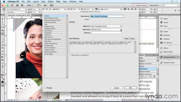 """Setting up a """"style cascade"""" with the Next Style feature: Designing Templates with InDesign"""