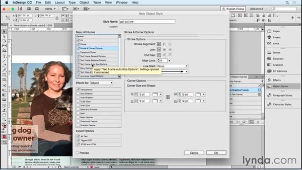 Creating object styles for callout lines and anchored objects: Designing Templates with InDesign