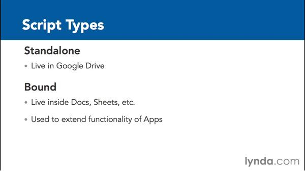 Understanding script types and permissions: Up and Running with Google Apps Script