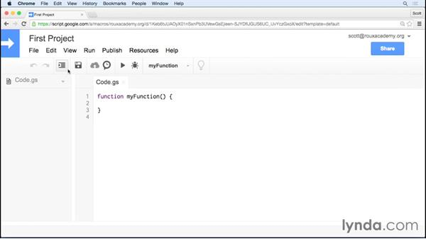 Working with the online integrated development environment (IDE): Up and Running with Google Apps Script