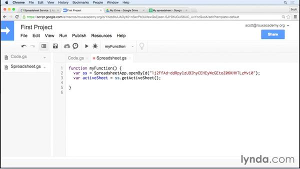Accessing and editing a spreadsheet: Up and Running with Google Apps Script