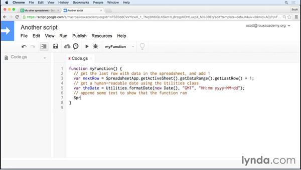 Running your script automatically: Up and Running with Google Apps Script