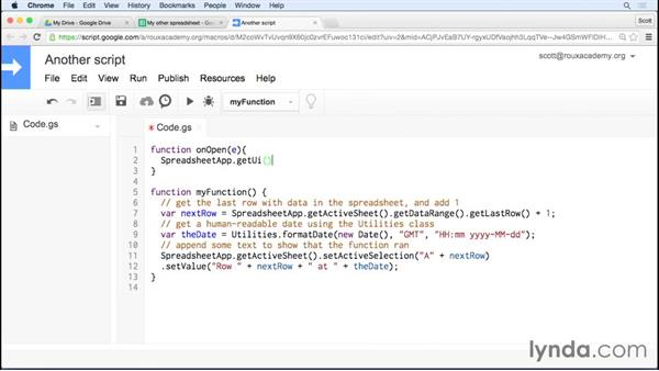 Creating a menu: Up and Running with Google Apps Script