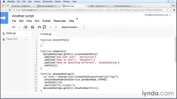 Storing data for your script: Up and Running with Google Apps Script