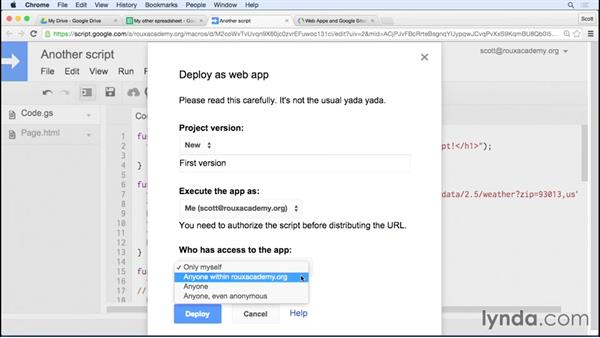 Publishing your script as a web app: Up and Running with Google Apps Script