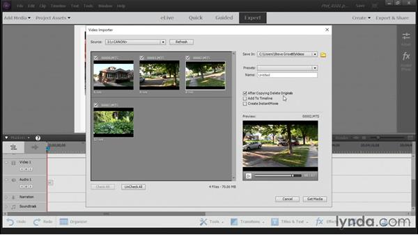 Downloading video from a camcorder or smartphone: Up and Running with Premiere Elements 14