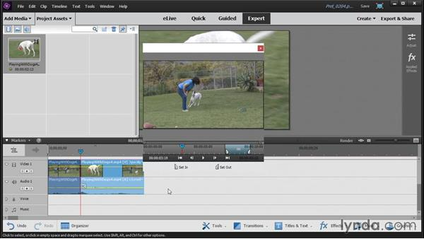 Pretrimming media in the clip monitor: Up and Running with Premiere Elements 14