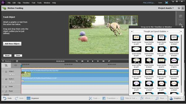 Using the Motion Tracking tool to link a graphic to an object in your video: Up and Running with Premiere Elements 14