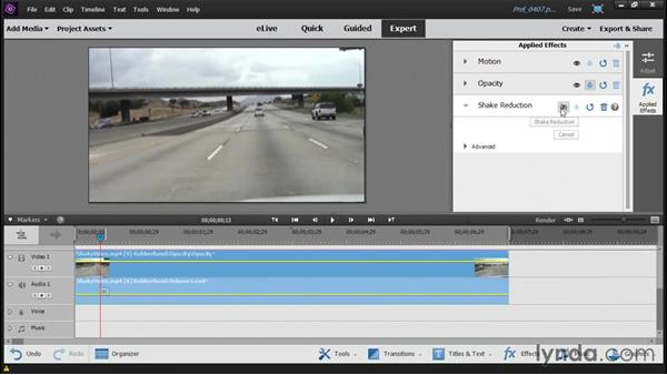Stabilizing a shaky video: Up and Running with Premiere Elements 14