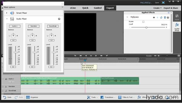 Adding and customizing audio effects: Up and Running with Premiere Elements 14