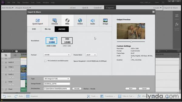 Burning a DVD or Blu-ray disc: Up and Running with Premiere Elements 14